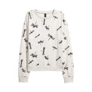 H&M Dragonfly Print Pullover Sweatshirt